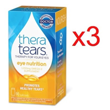 3 x 90caps Theratears Thera Tears Nutrition 1200mg Omega 3 DHA Fish Oil Supplement