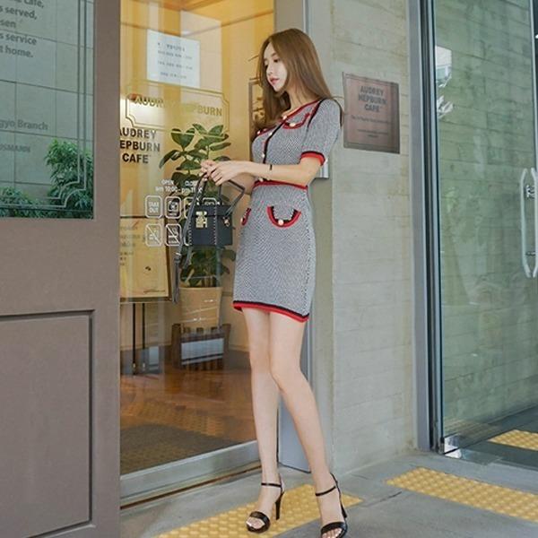 無限愛情ニット・ワンピースnew Hライン/スリムフィットワンピース/ワンピース/韓国ファッション