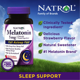 Natrol® Melatonin TR Time Release 5 mg 100 Tablets / Fast Dissolve Strawberry 5 mg 90 Tablets