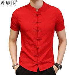 store 2019 New Men s Chinese Vintage Shirt Mandarin Collar Slim Fit Short Sleeves Cotton Linen Shirt