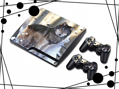 Wolf Print Animal Sticker Skin For PS3 Super Slim Controller Cover (Color:  Grey)