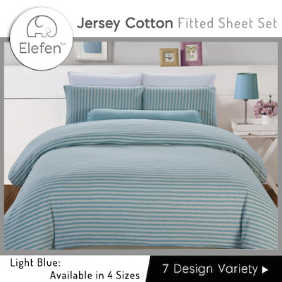 Elefen Jersey Cotton Series   Thin Stripes Fitted Sheets (Light Blue)