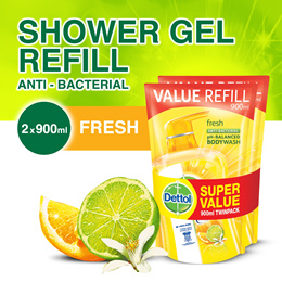 Dettol Fresh Body Wash - Refill Pouch Twin Pack 900ML x 2