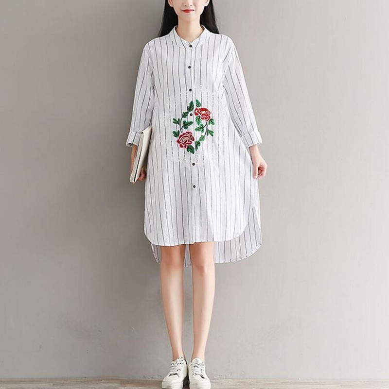 韓国ファッション ワンピース  レディース   刺繍  大きいサイズ   長袖  シャツワンピース 着痩 / 上質/大人気   14L