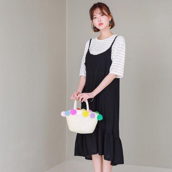 ジェイ・スタイルビックサイズコリーでもビュスチェワンピース 綿ワンピース/ 韓国ファッション