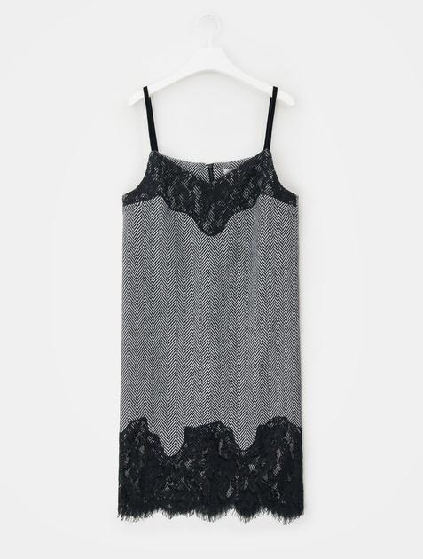 8SECONDS Wool Herringbone Lace Patch Dress - Black