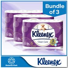 [BUNDLE of 3] KLEENEX Clean Care 3PLY Bathroom Tissue 3 Packs x 160 x 6rolls
