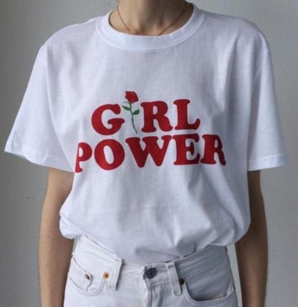 女性のファッションコットンガールパワーレタープリントTシャツ女性ファッションTシャツ