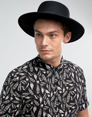 ASOS Pork Pie Hat in Black With Diamond Crown 7cc1931779e6