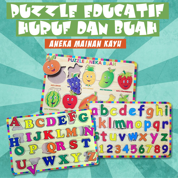 [BEST SELLER ] PUZZLE ANEKA MAINAN KAYU EDUCATIF HURUF DAN BUAH Deals for only Rp30.000 instead of Rp30.000