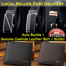 [Local Seller] Mens Automatic Buckle Belt / Genuine Cowhide Leather / Business Belt