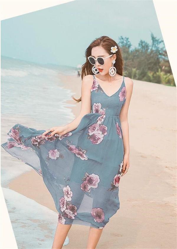 レディースワンピース ビーチワンピース プリント シフォン ファッション ハイセンス 着心地いい おしゃれ 夏 レディースワンピース