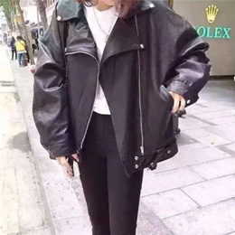 Korean cab Pu leather Korean lapel leather jacket coats women long sleeve loose thin spring 2016 new