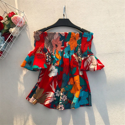 fe0b9c77226e3 Fashion Off Shoulder Boho Floral Print Blouse Blusas Femininas Ethnic Flare  Sleeve Women Sexy Shirt