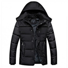 Menswear Plus Size Extra Thick Cotton Hooded Winter Coat