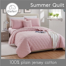 Elefen Plain Series Rose Pink Summer Quilt  / Single /  Queen / King