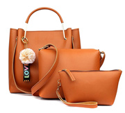 29K Women Handbag with Sling Bag  Pouch (Set of 3) - Tan