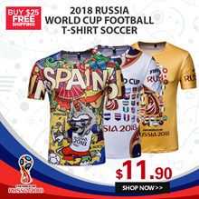 2018 Russia World Cup football T-shirt Soccer / 3D Printed Casual Jersey / Spain Mexico High quality