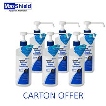 MaxShield Instant Hand Sanitizer 6 x 500ml Kills 99.99% of germs instantly // Safe for frequent uses