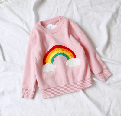 81279c89dc3f3 Autumn Baby Girls Sweater Jumper Knitwear Rainbow Cloud Long-Sleeve  Pullover for Girls Kids Toddler
