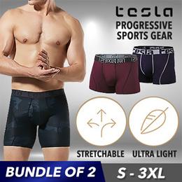 Tesla® Mens Brief 2 in 1 / Underwear / Sports inner Panites /  Ultra light Stretch / mesh fabric / Q10 Promotion