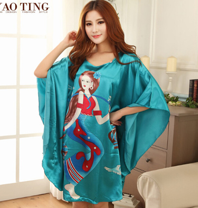 fiber silk women dress batwing sleeve sleep dress nightskirt for women  fashion home nightskirts young girls 45a808246