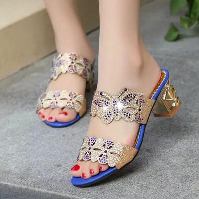 mokingtop Women Sandals Women Rhinestone Sandals Fashion Open Toe Shoes  Bohemia high Heel Shoe san fdb220f196b8