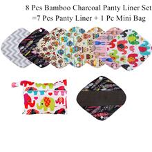 8Pcs Set Including 7Pcs Reusable Waterproof Panty Liner+1Pc Mini Wet Bag,Bamboo Charcoal Material Fo
