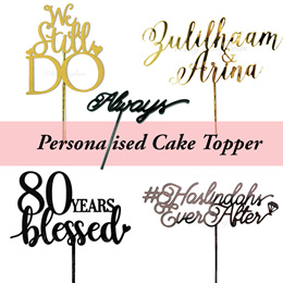  [PARTY] Customised Acrylic Wooden Cake Topper / Birthday / Baby Shower / Wedding