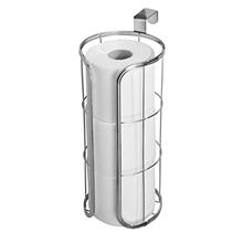 mDesign Modern Over the Tank Hanging Toilet Tissue Paper Roll Holder and Reserve for Bathroom Storag