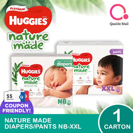 Kimberly Clark 1 x CARTON SALE: Huggies Naturemade Platinum Diapers/ Pants