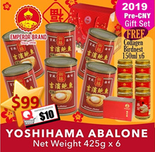 2019 PRE-CNY Gift Set - Yoshihama Abalones 6 X425g FREE Collagen Bird Nest 6X150ml