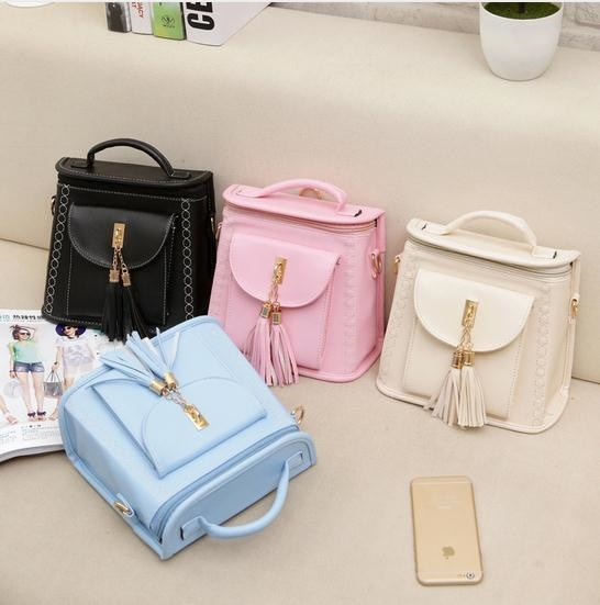 actual size. prev next. New Womens Candy PU Tassels Backpacks Korean Style  ... ee70d6ad2249f