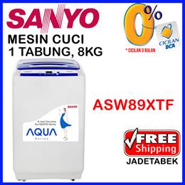 [FREE SHIPPING JADETABEK] Sanyo Mesin Cuci Sanyo 1 tabung 8kg ASW89XTF