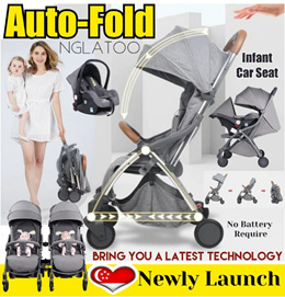 Auto-Fold Cabin Twin Double Stroller Infant Car Seat Carrier Cot Cradle