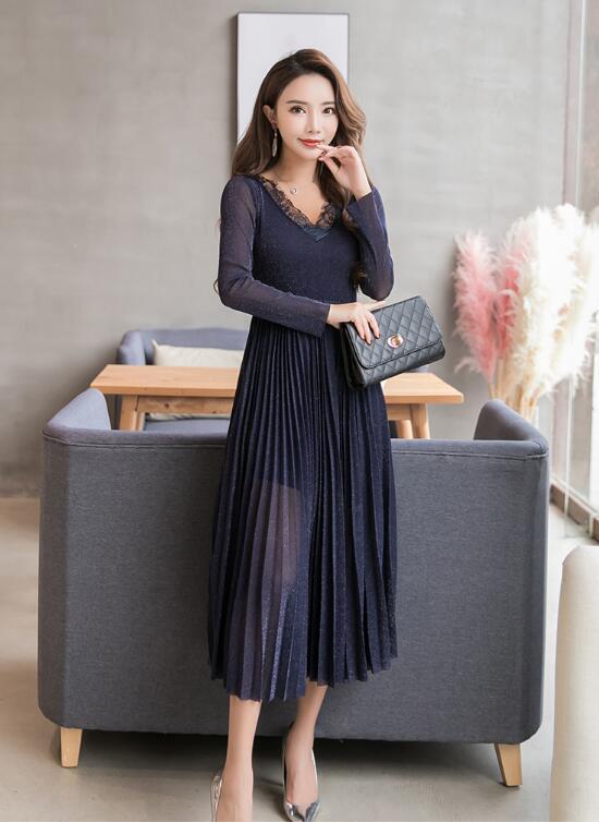 韓国ファッション ♥限定発売♥上品&ガーリー♡レトロ レース ♪ ワンピース/シャーリングディテール ワンピース