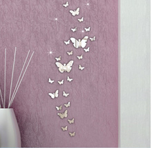 Mirror butterfly stickers--- Wall Sticker Decals Wall Art For Home Living Room Bedroom