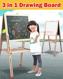 【3in1 Drawing Board】Multi-Functional Pine Blackboard Whiteboard Easel Adjustable Height