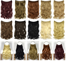 Hide Halo Curly/wavy Hair Extensions Synthetic Hairpieces Blonde Hair 18inch 80g