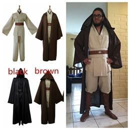 Kenobi Jedi Knight Complete Costume Cloak Cape Hood Suits Costumes Cosplay Halloween Dress Up
