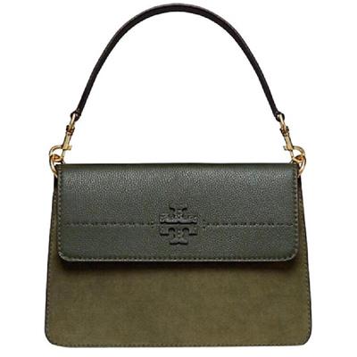 395c2b5759b Qoo10 - TORY BURCH MCGRAW MIXED SUEDE SHOULDER BAG (OLIVE GREEN ...
