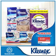 Bundle Deal[Kleenex] 2x Cottony Mega Bath Tissue + 2x Vintage/Floral 5x100 + 2x Floral/Vintage 4x50
