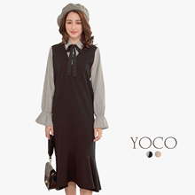 YOCO - Striped Blouse & Midi Dress Set-172894-Winter
