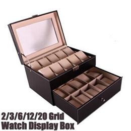 2/3/6/12/20 Grid Leather Watch Display Case Jewelry Collection Storage Organizer Box Holder