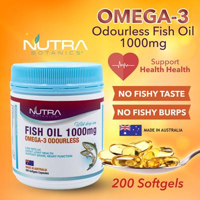 Super Discount 🔥Nutra Botanics Odourless Omega-3 Fish Oil 1000mg 200s🔥Burp Less