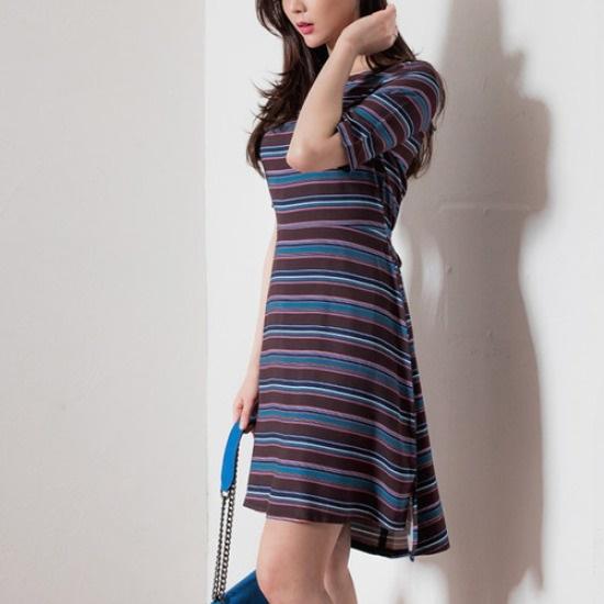 ハッパダンカラAラインワンピースSD6377 綿ワンピース/ 韓国ファッション