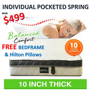 [GOOD REST] 10 Inch Queen Size Thick Individual Pocketed Spring Mattress Free Bedframe n Pillows