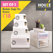 ONLINE EXCLUSIVE BUNDLE Of 3 ♦ 3L ~ 15L Modular Single Tier Drawer ♦ Stackable ♦ Strong And Durable