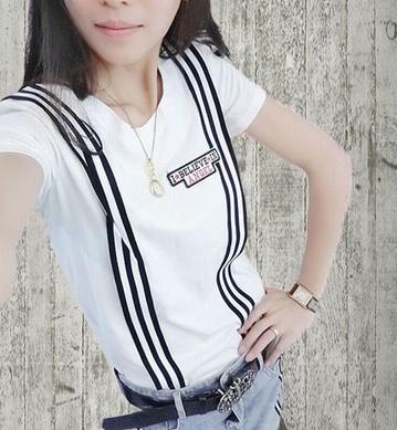 f818d14eec4 The new summer dress Korean thin vertical stripes false T T-shirt blouse  strap all