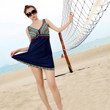 Summer 2016 Sexy Womens One Piece Swimsuit Backless Tummy Control Mini Swim Dress Folk Style Skirt S